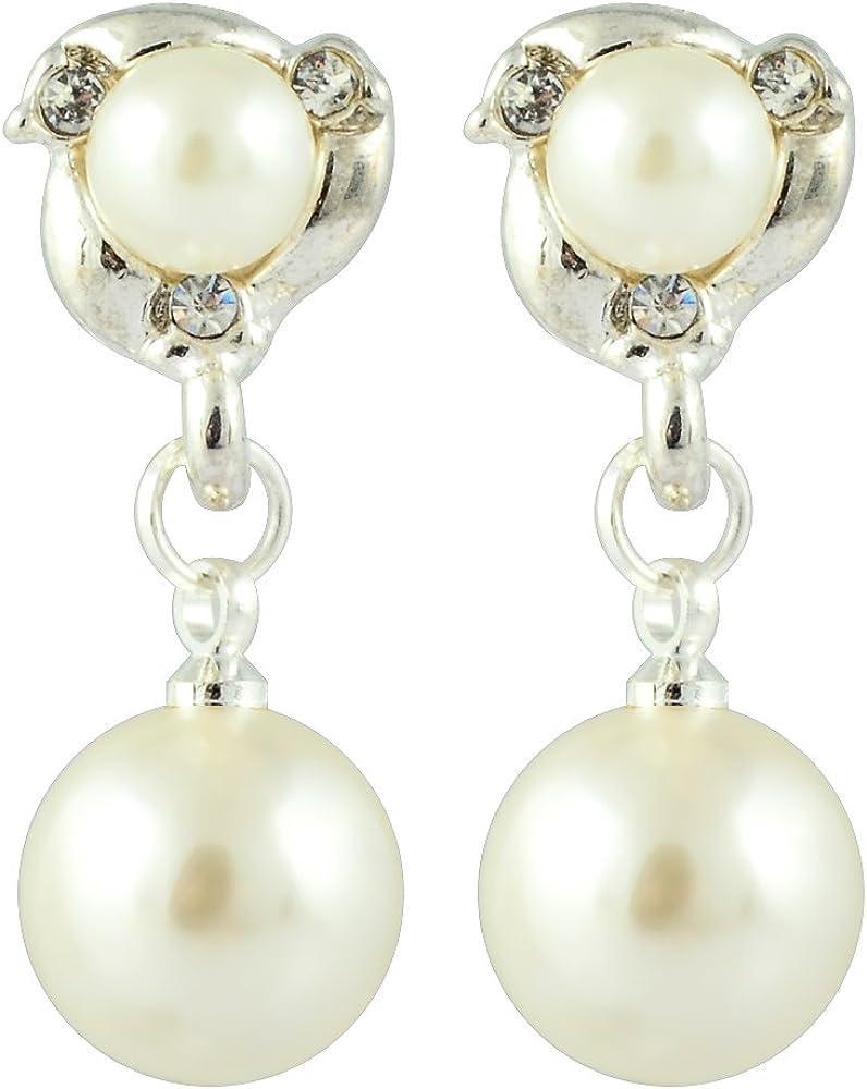 RIZILIA Clip en Pendientes con Corte Redondo Cristal y Crema de perlas de marfil[2 Colores disponibles] en 18K Chapado en oro, Elegancia Moderna Sencillo