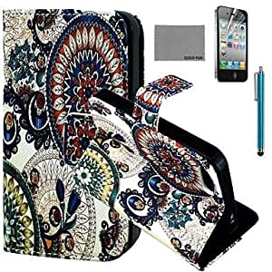 WQQ Circle Floral Pattern PU Leather Case with Screen Protector and Stylus for iPhone 4/4S
