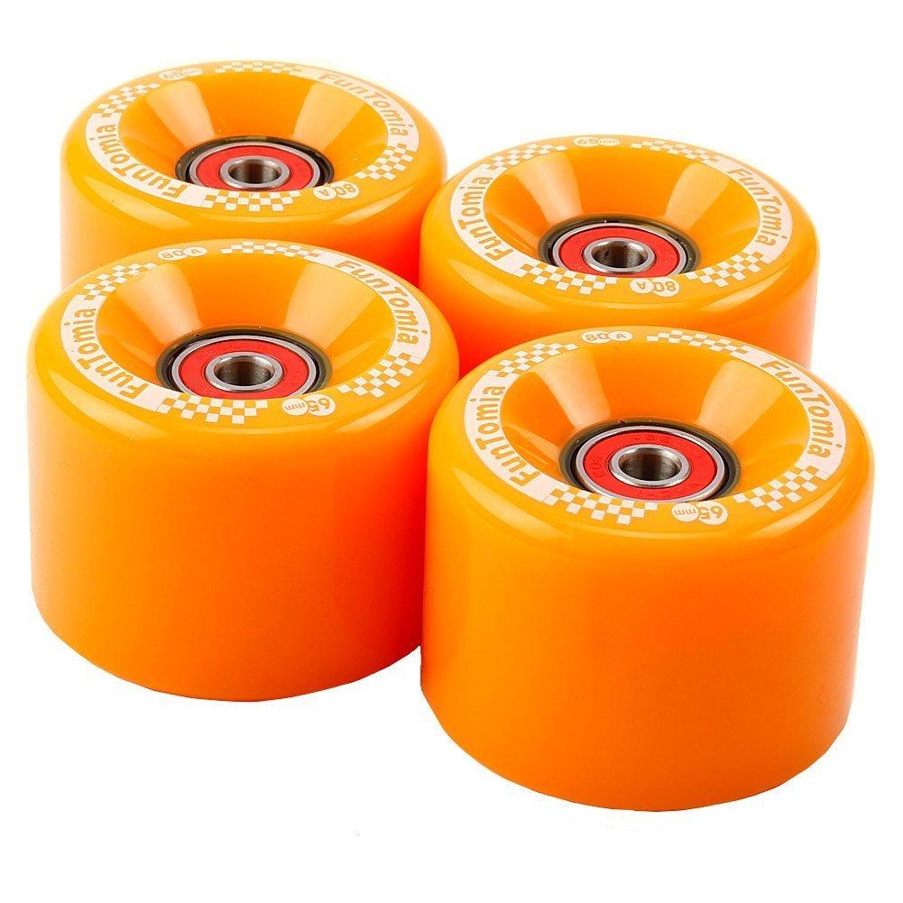 Juego de 4 ruedas de FunTomia para longboard, patinete o skate (Big Wheels), con luz LED, de 65 x 45 mm, 80 A, incluyerodamientos Mach1 y espaciador ...