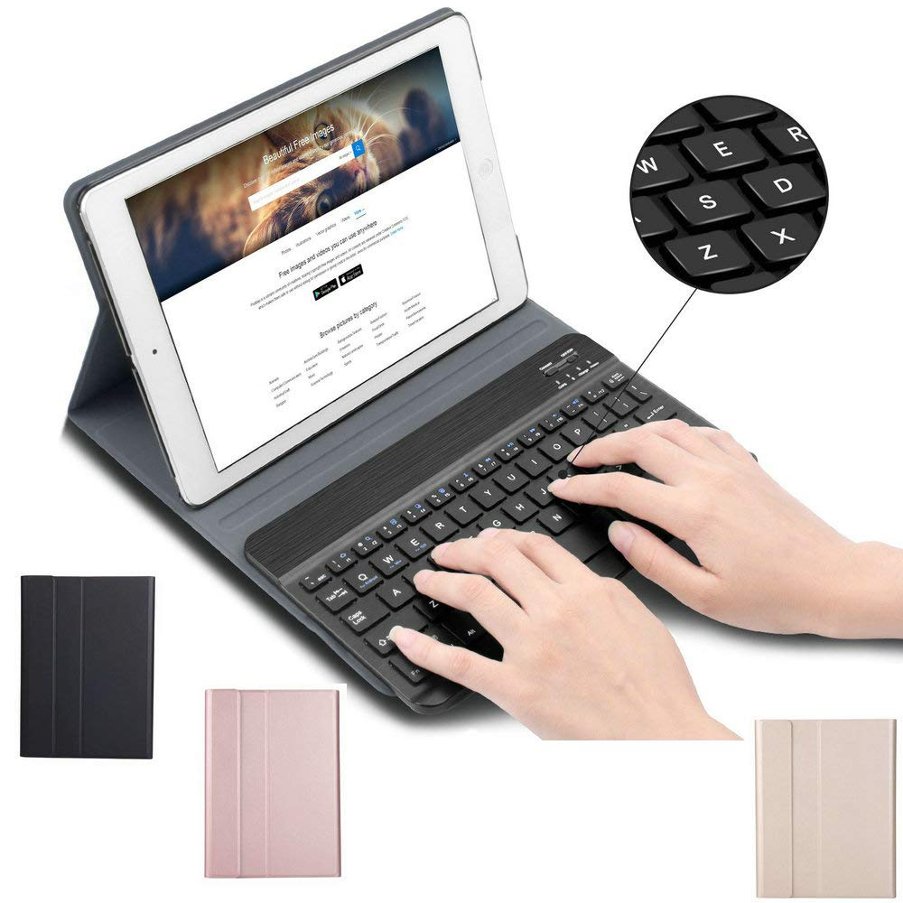 Slim Stand Folio Leather Cover with Detachable Magnetic Wireless Keyboard Huawei MediaPad T5 10 2018, Black Keyboard Case for Huawei MediaPad T5 10 inch 2018 Android Tablet PC