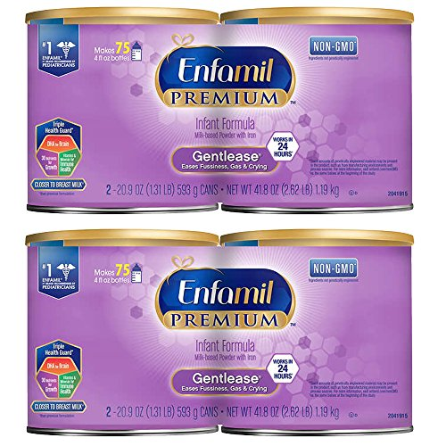 Enfamil Premium Gentlease Non GMO Infant Formula Milk Based Powder with Iron – 20.9 oz Per Can (packaging may vary) Pack of 4