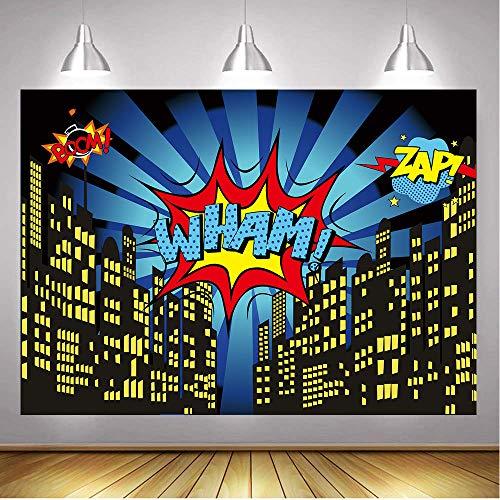 GYA 7x5FT Superhero Backdrop Super City Hero Baby Shower Photography Backdrop Birthday Party Photography Background Super Hero Party Decorations sc032-7x5FT]()