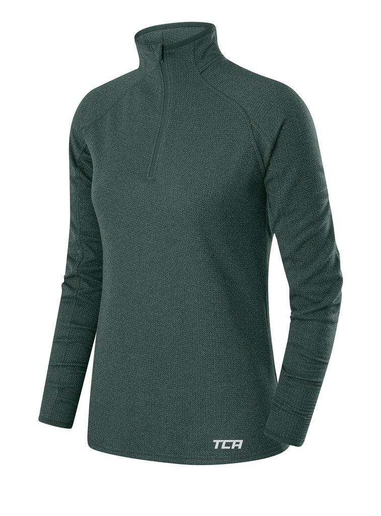 TCA Women's Cloud Fleece ¼ Zip Thermal Running Top with Zip Pocket - Sky Blue (Teal), X Small