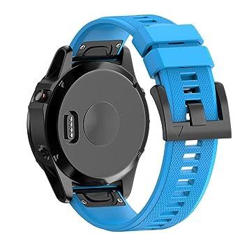 Correas para Garmin fenix 5 GPS, Sannysis banda de silicona de garmin fenix 5 correa (Azul): Amazon.es: Deportes y aire libre