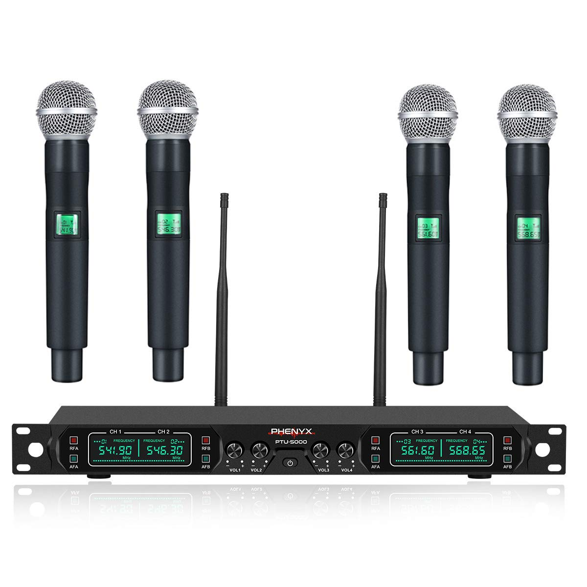 Wireless Microphone System, Phenyx Pro 4-Channel UHF Cordless Mic Set With Four Handheld Mics, All Metal Build, Fixed Frequency, Long Range 260ft, Ideal for Church,Karaoke,Weddings, Events (PTU-5000A) by Phenyx Pro