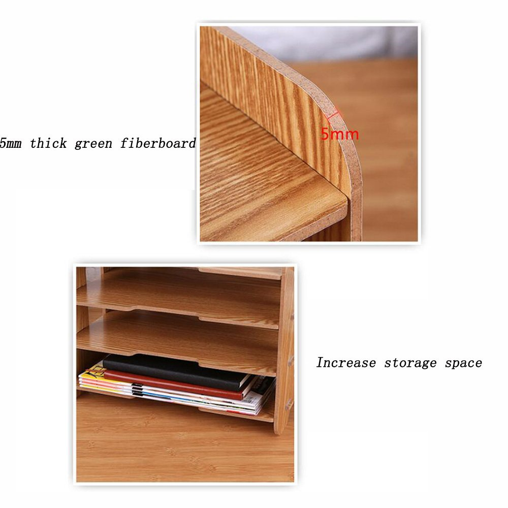 Bookcase Thick Wooden Desktop Storage Box Storage File Holder Multi-Layer Data Bookshelf Office Supplies Storage Box,WoodColor by ANHPI-bookcase (Image #3)