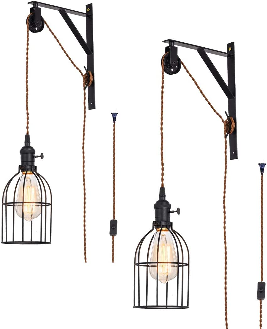 SEEBLEN Vintage Design Industrial Wheel Farmhouse Wall Mount Pulley Wall Pendant Lamp with 15-Foot Brown Plug and Switch Set of 2