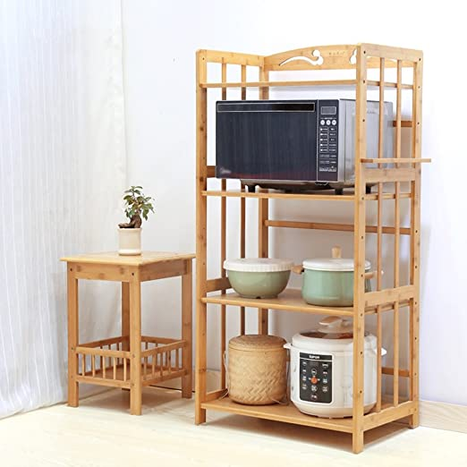 Amazon.com: 4-Tier Kitchen Microwave Oven Rack Bamboo Wood Floor Display Storage Holder Shelf Stand Organizer (Size : 55cmx38cmx118cm): Kitchen & Dining