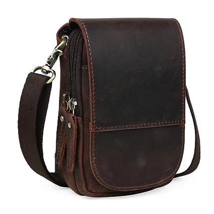 d5b1b8d5548 Tiding Men's Retro Genuine Cowhide Crazy Horse Leather Vintage Messenger Bag  Waist Bag 3150 (black
