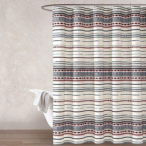 Haus & Haven Ira Multi Stripe Shower Curtain 100% Cotton 72