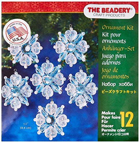 Snowflake Beaded Ornaments (Beadery BOK-5977  Holiday Beaded Ornament Kit, Filagree Snowflake, 1.75-Inch. Makes 12)