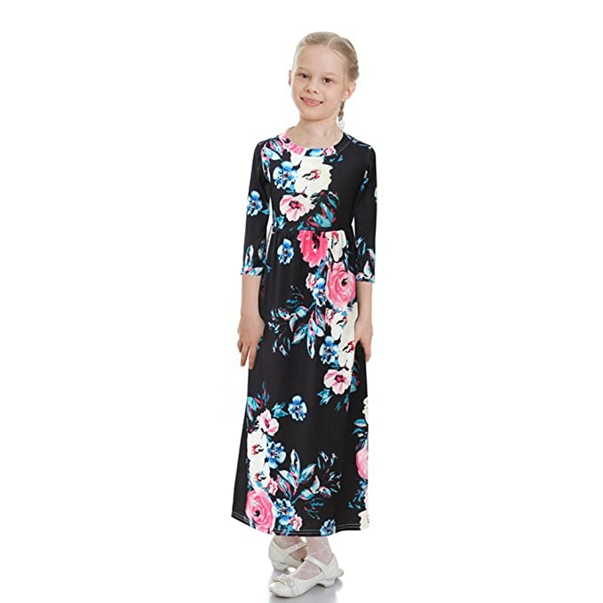 322b225f3 Amazon.com  FUNOC Kids Little Girls Bohemian Long Party Dress Tunic ...