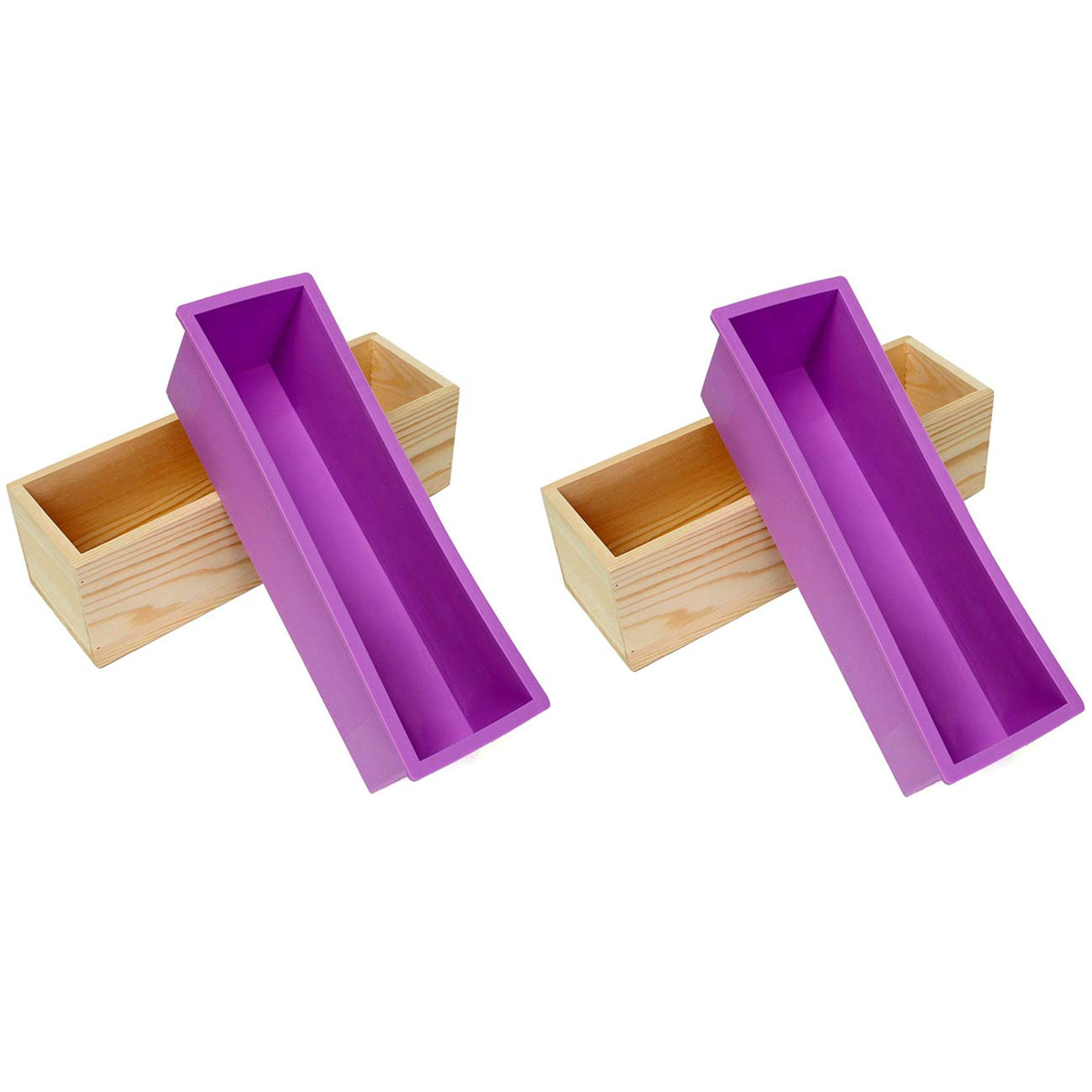 Ogrmar Flexible Rectangular Soap Silicone Mold With Wood Box DIY Tool For Soap Cake Making 42oz (Purple x2)