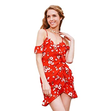 5830360ab7bc Women's Cute Sexy Boho Straps V-Neck Floral Print Wrap Casual Dress  Sundress Red Small
