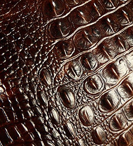 Heshe Vintage Leather Crocodile Men Handbags Messenger Briefcase Business Shoulder Bag Work Tote Fit Laptop (Dark Brown) by HESHE (Image #3)