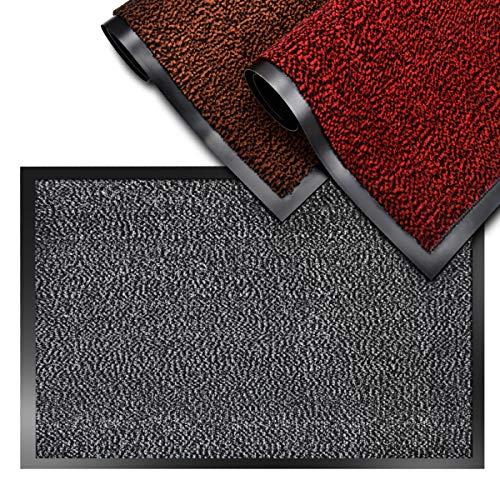 SHOWIN Carpet Entrance rug (Black-White, 24 X 36) Front Door Mat Absorbent,Non Slip,Indoor/Outdoor Entry Rug (60X90cm)