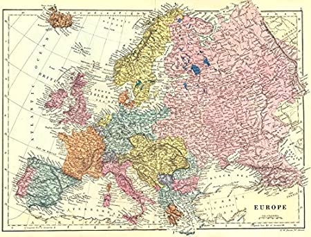 Europa. Europa. BACON – 1895 – mapa antiguo – diseño de mapa antiguo – Vintage Map – Mapas de Europa: Amazon.es: Hogar