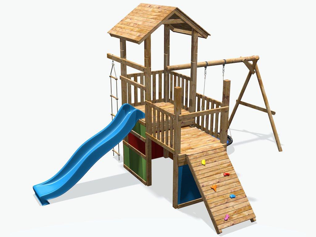 Spielturm mit Rutsche, Schaukel, Kletterwand & Leiter - deinSpielgeraet Max & Moritz 9 - Kletterturm für Kinder aus imprägniertem Holz, ideal für den Garten (mit Rutsche blau)