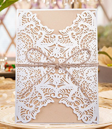 Floral Reply Card (50pcs Elegant Wedding Invitation Cards Laser Cut Floral Hollow Pattern Cover with Printable Kraft Cardstock and Robbin Kit for Bridal Baby Shower Engagement Birthday Party Graduation)