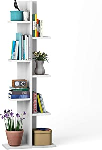 Giantex 7-Tier Bookshelf, Multipurpose Storage Shelf Space-Saving Bookcase Wood Display Shelf Stand for Books Photos Artwork, Pot Plant, Storage Holder Rack w/ 8 Open Well-Arranged Shelves, White