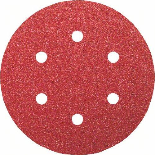Bosch 2609256A30 Feuilles abrasives pour Ponceuses excentriques Diamè tre 150 mm 6 trous Grain 60 Lot de 5 feuilles