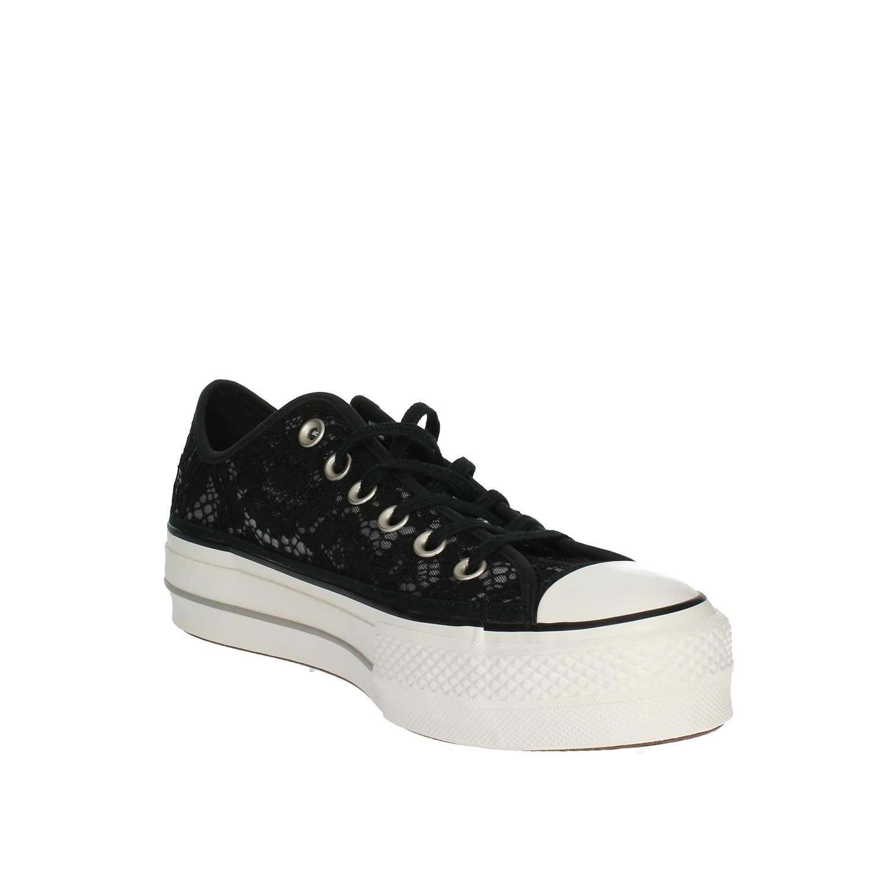 Converse 561287C Schwarz Schwarz Flache Schuhe Frau Sneaker Plattform Spitze Schnürsenkel Spitze Plattform Schwarz 5784ba