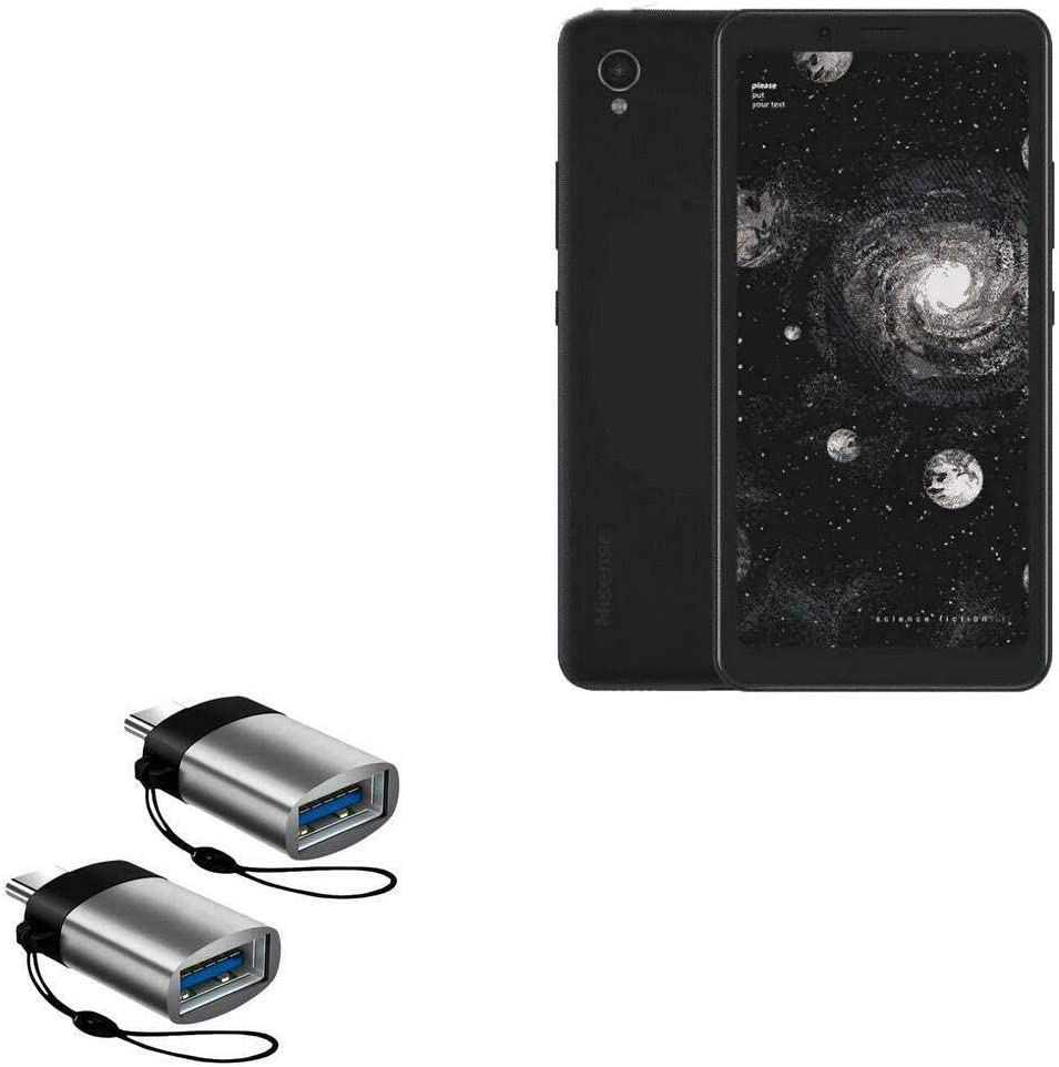 2-Pack HiSense A5 Pro Cable BoxWave USB Type-C OTG USB Portable Keychain for HiSense A5 Pro USB Type-C PortChanger Slate Grey
