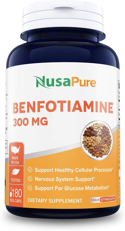 Benfotiamine 300mg 180 Veggie Caps Non-GMO, Vegan, Promotes Healthy Blood Sugar