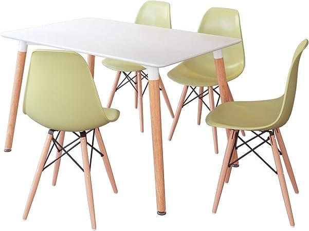 Jooli H - Juego de mesa de comedor y sillas (4 sillas verdes): Amazon.es: Hogar