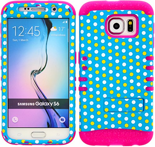 Wireless Fones TM Samsung Galaxy S6 Dual Layer Hybrid Impact Resistant Protective Kickstand Cover Case Light Blue Polka Snap On Over Pink Glitter Skin