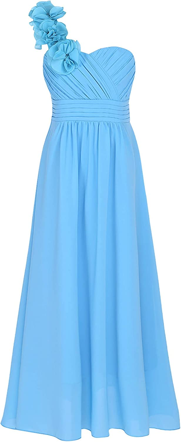 YOOJIA Kids Girls Flower One Shoulder Bridesmaid Wedding Dress Princess Formal Prom Party Ball Long Gown