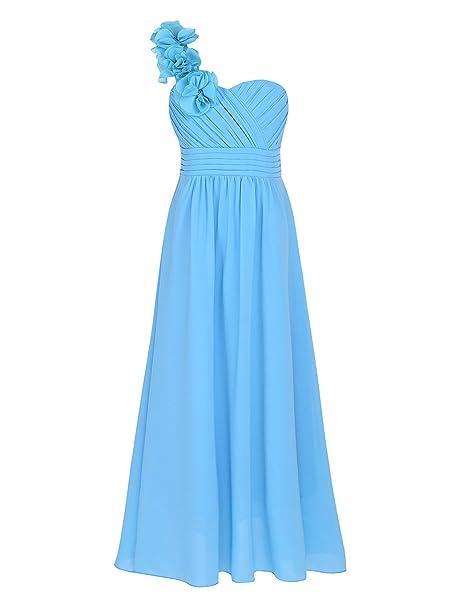 YiZYiF Vestido Ceremonia Fiesta Largo Niñas Vestidos Elegante Princesa Vestido Boda Hombros con Flores Traje Maxi Dama de Honor Comunión 4-14 Años