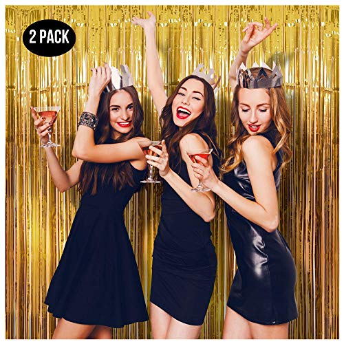 Halloween Parties Ideas 2019 (Foil Fringe Curtain (SET of 2) Gold Party Backdrop - Stunning Tinsel Curtains for Christmas & New Years Eve, Bachelorette Party, Birthday Decorations, Graduation - Great Photo Booth)