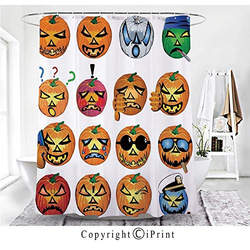 AngelSept Carved Pumpkin with Emoji Faces Halloween Humor Hipster Monsters Art Shower Curtain - Water, Soap, and Mildew Resistant - Machine Washable - Shower Hooks are -