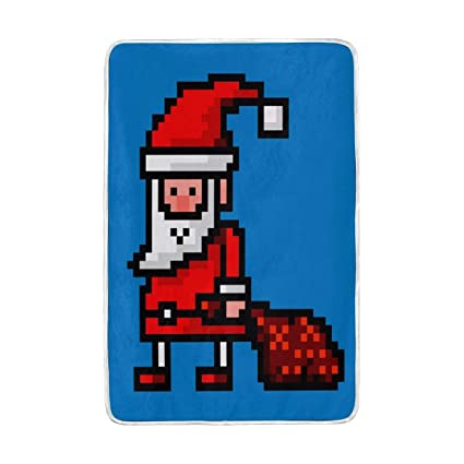 Home Decor Cartoon Santa Claus Funny Pixel Art Blankets And