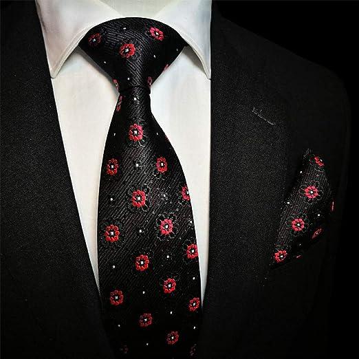 GuanBen Corbata de Hombre, Ancho Negro, 8,5 cm. Jacquard Rojo ...