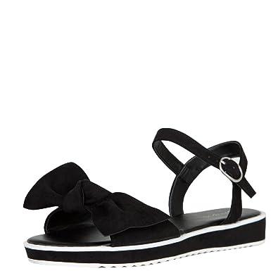 337edefb5ec BAMBOO Womens Open Toe Oversize Bow Ankle Strap Mary Jane Low Flat Heel  Sandal Shoe 7