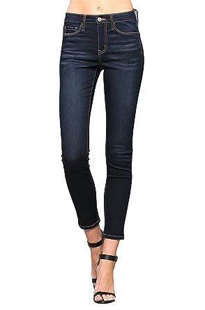aad7ecee99a Vervet by Flying Monkey Blue Hops Mid Rise Dark Wash Super Soft Ankle Skinny  Jeans VT274