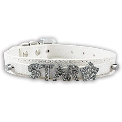 bling Personalized Dog Name Collar (White, Medium)