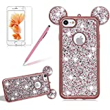 Girlyard For iPhone 6 / iPhone 6S Bling Diamond Silicone Case Cover Shiny Crystal Rhinestone Mouse Ears Soft TPU Protective Case 3D Novelty Design Ultra Slim Plating Frame Cover Rose Gold