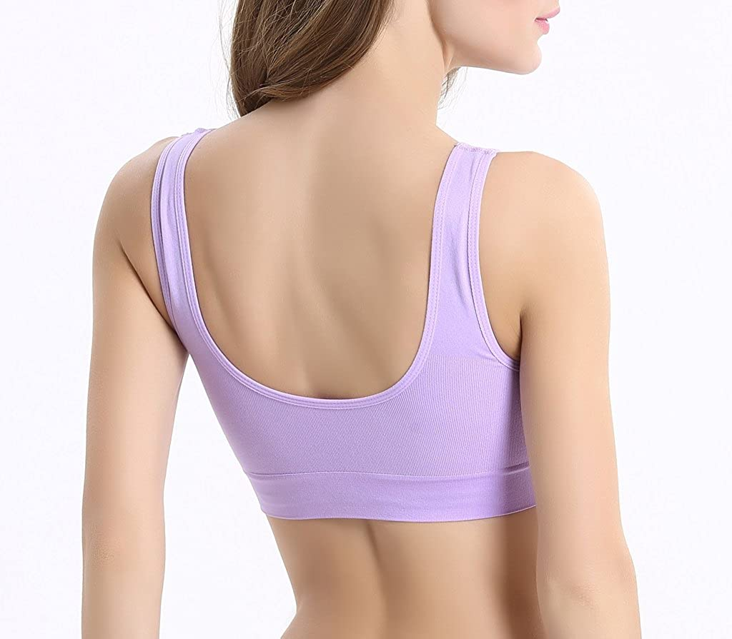 Vermilion Bird Womens 3 Pack Seamless Comfortable Sports Bra with Removable Pads