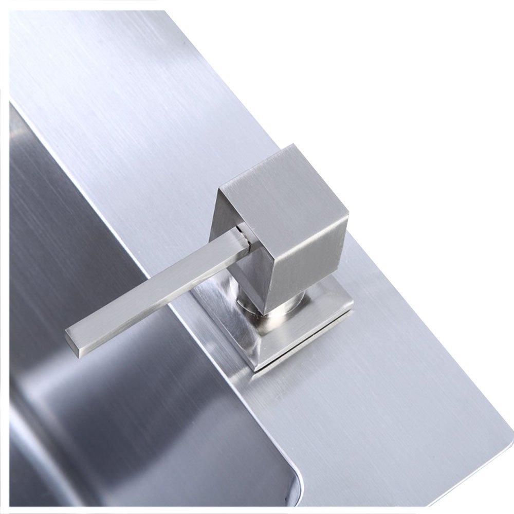 304 Stainless Steel Kitchen Sink Countertop Soap Dispenser Built in Hand Soap Dispenser Pump, Brushed Nickel