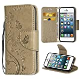 iPhone 5S Case,i-Dawn Premium Leather Wallet Flip Protective Case with Wristlet Lanyard and Kickstand for Apple iPhone 5/5S/SE Grey