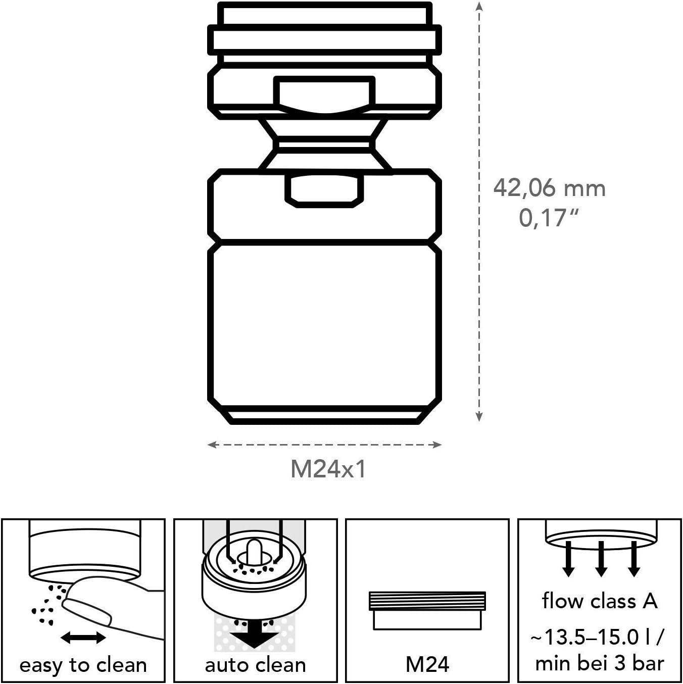 Energieklasse A Neoperl 01882097 Kugelgelenk Cascade SLC M24x1 Strahlregler verchromt,