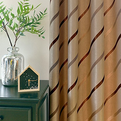 Jaoul Elegant Jacquard Stripe Blackout Grommet Top Lined Thermal Insulated Room Darkening Curtains Drapes for Living Room, 52 by 96 Inch, Coffee (1 Panel)