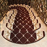 KEYAMA High-grade Acrylic Sector Grid Carpet Stair Treads mats Free tape Non skid Stair rugs Non Slip Treads Carpet Decorative Staircase (Set of 15) 9''W x 25''L Brown (D)
