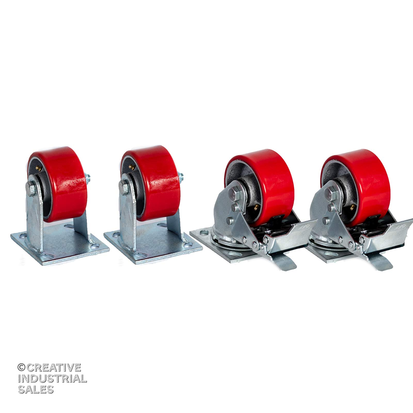 4'' X 2'' Swivel Caster Heavy Duty Polyurethane Wheel on Steel Hub w/Total Lock Brake(2) and Rigid (2) 700lb Ea Tool Box