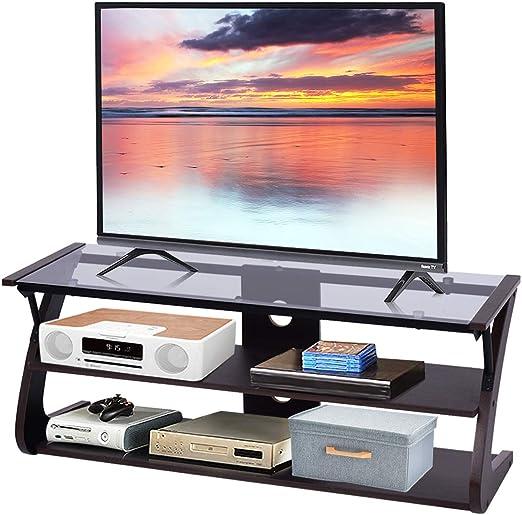Tangkula - Soporte para televisor (3 niveles, cristal), diseño de ...