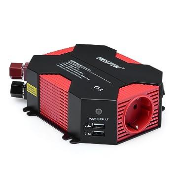 Inversor De Corriente 12v A 220v 400W,BESTEK Convertidor 12v 220v para Coche con 4 Puertos USB Y 1 Toma 12V A 220V, Pinzas De Conexión A Batería, ...