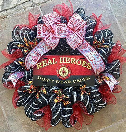 Firefighter Wreath with Metal Sign, Unique Fireman-Print Ribbon, Fire-Print Ribbons